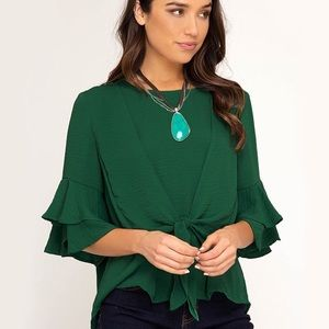 NEW! Hunter Green Ruffle Sleeve Tie Front Top